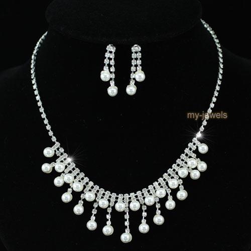 Braut Hochzeit Jahrgang Silber Vernickelt Kristall Halskette Ohrringe Satz S1201